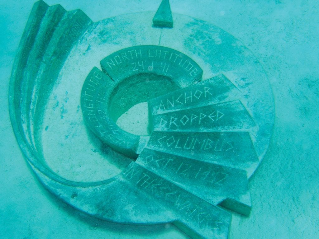 Anchorage monument on San Salvador Island in the Bahamas
