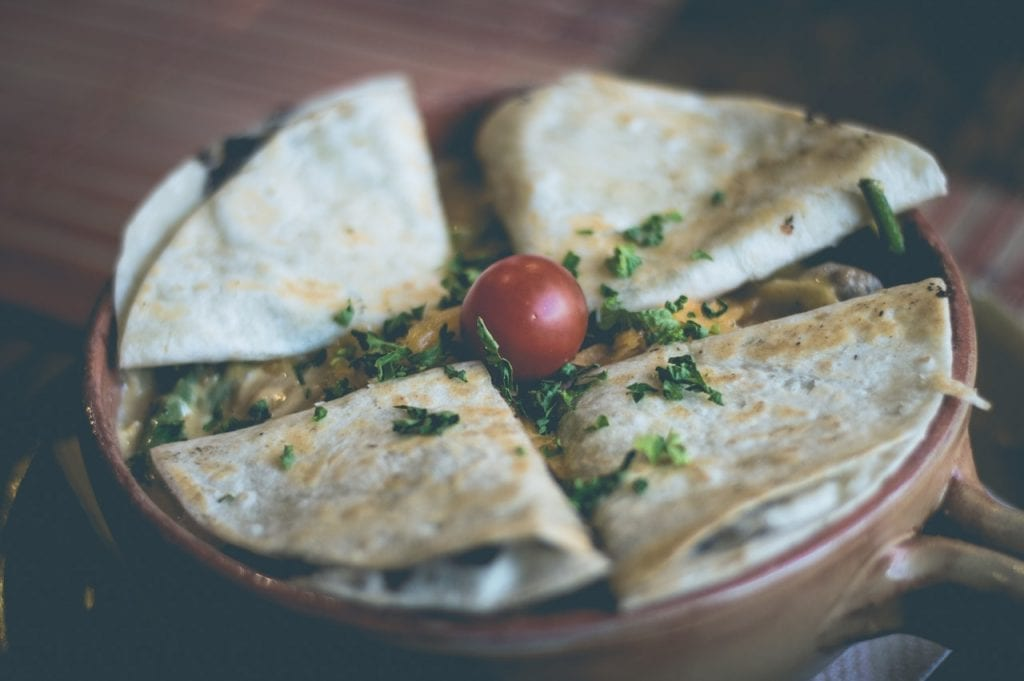 an image of a chicken quesadilla