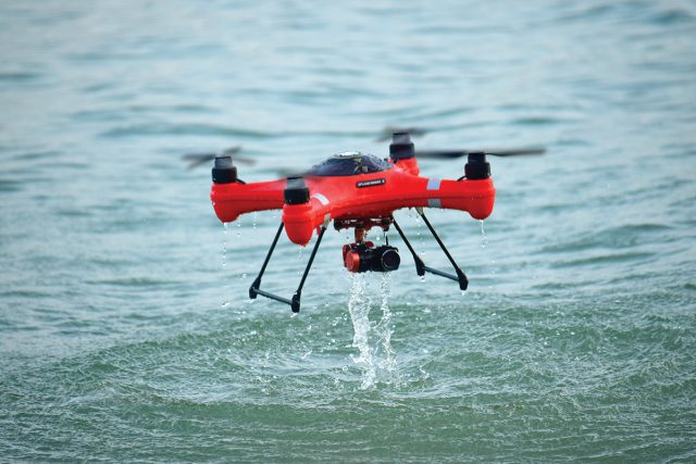 an image of a Drone Fishing over the water