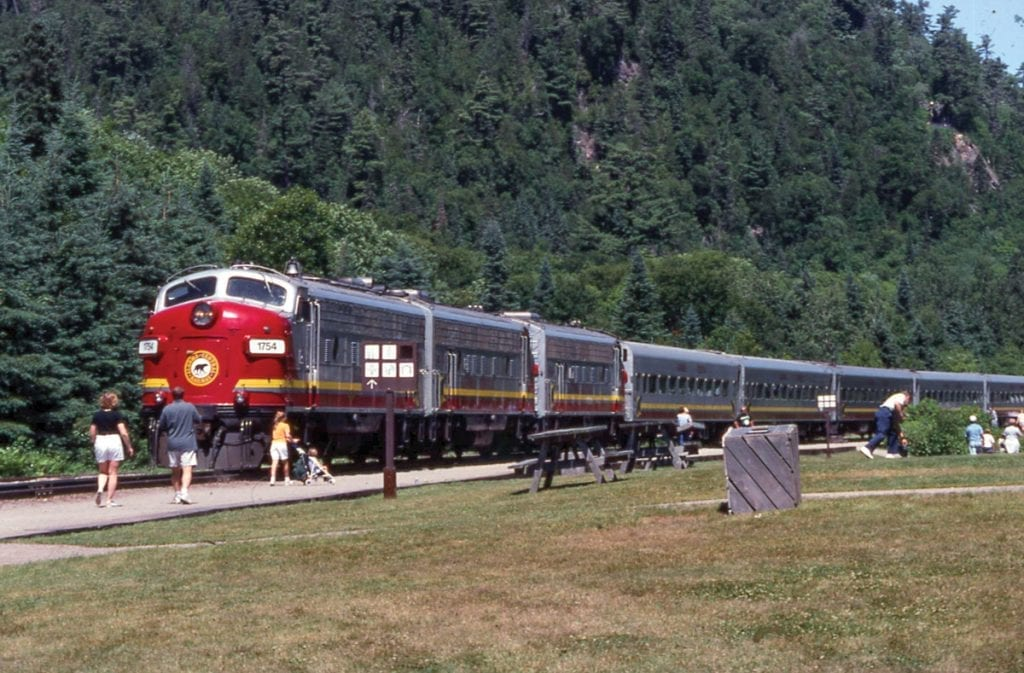 this is an image of a train on the Algoma Central Railway
